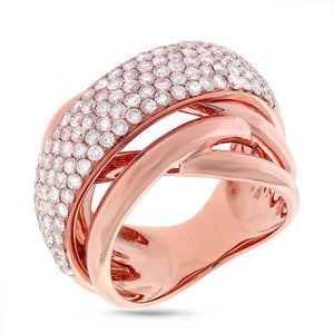 14k Rose Gold Diamond Bridge Ring - 2.25ct