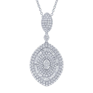 18k White Gold Diamond Pendant - 3.76ct