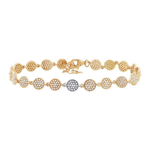14k Two-tone Gold Diamond Pave Circle Bracelet - 0.89ct