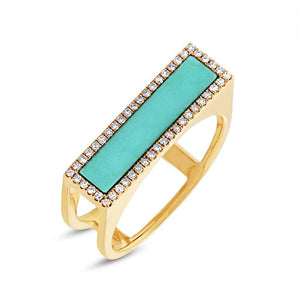 Diamond & 0.97ct Composite Turquoise 14k Yellow Gold Lady's Ring Size 8