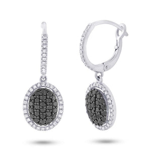 14k White Gold Black & White Diamond Earring - 0.84ct