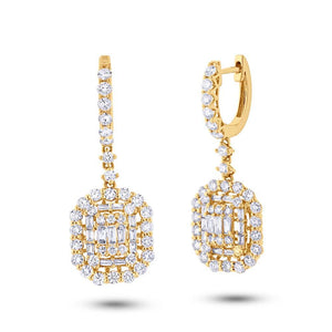 18k Yellow Gold Diamond Earring - 2.41ct
