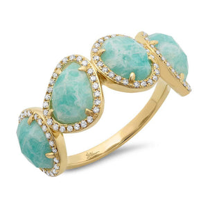 Diamond & 3.35ct Amazonite 14k Yellow Gold Ring Size 6 - 0.27ct