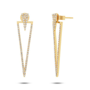 14k Yellow Gold Diamond Triangle Ear Jacket Earring with Studs