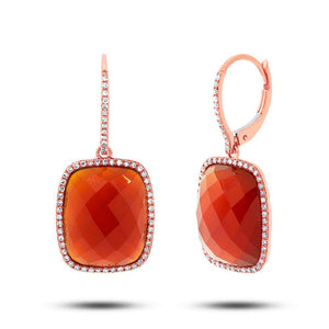 Diamond & 14.85ct Red Agate 14k Rose Gold Earring - 0.37ct