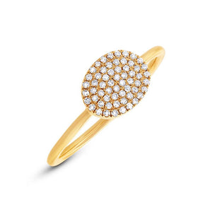 14k Yellow Gold Diamond Pave Ring Size 5 - 0.17ct
