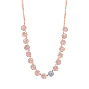 14k Two-tone Rose Gold Diamond Pave Circle Necklace - 1.41ct
