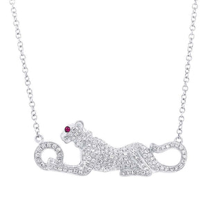 Diamond & 0.01ct Ruby 14k White Gold Panther Necklace - 0.39ct