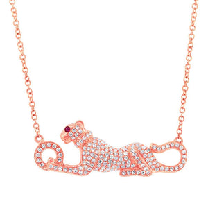 Diamond & 0.01ct Ruby 14k Rose Gold Panther Necklace - 0.39ct
