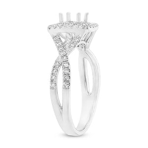 14k White Gold Diamond Semi-mount Ring for 4.5x4.5mm Center - 0.51ct