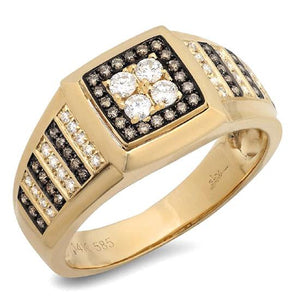 14k Yellow Gold White & Champagne Diamond Men's Ring Size 8 - 0.63ct
