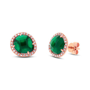 Diamond & 2.65ct Green Agate 14k Rose Gold Earring - 0.15ct