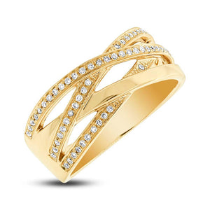 14k Yellow Gold Diamond Bridge Ring - 0.18ct