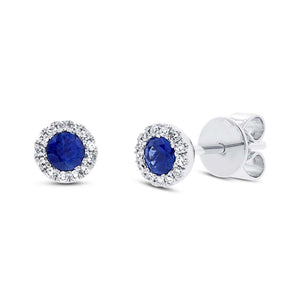Diamond & 0.28ct Blue Sapphire 14k White Gold Stud Earring
