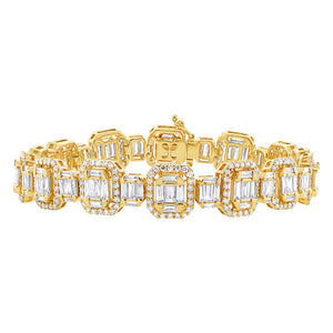 18k Yellow Gold Diamond Baguette Bracelet - 7.24ct