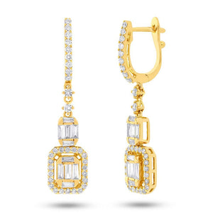 18k Yellow Gold Diamond Baguette Earring - 1.27ct