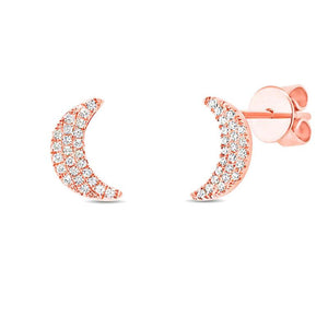 14k Rose Gold Crescent Moon Stud Earring - 0.11ct