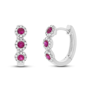 Diamond & 0.29ct Ruby 14k White Gold Huggie Earring