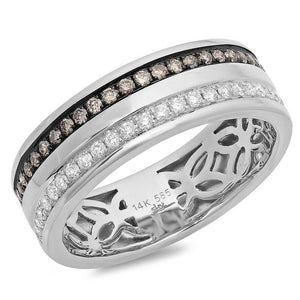 14k White Gold White & Champagne Diamond Men's Band - 0.86ct