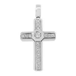 14k White Gold Diamond Cross Pendant - 0.50ct