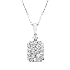 18k White Gold Diamond Pave Pendant - 0.78ct