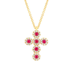 Diamond & 0.14ct Ruby 14k Yellow Gold Cross Necklace - 0.12ct