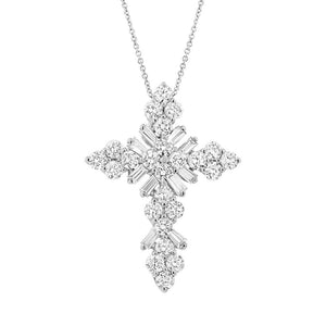 18k White Gold Diamond Baguette Cross Pendant - 0.76ct