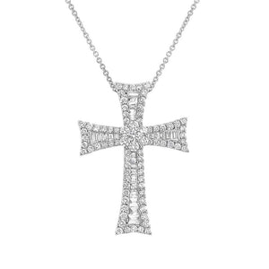 18k White Gold Diamond Cross Pendant - 2.16ct