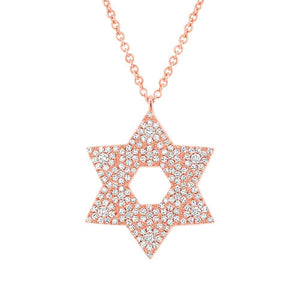 14k Rose Gold Diamond Pave Star of David Necklace - 0.55ct