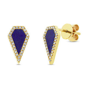 Diamond & 0.63ct Lapis 14k Yellow Gold Earring - 0.12ct
