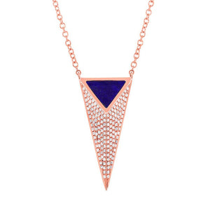 Diamond & 0.35ct Lapis 14k Rose Gold Pyramid Necklace - 0.31ct
