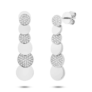 14k White Gold Diamond Pave Earring - 0.29ct
