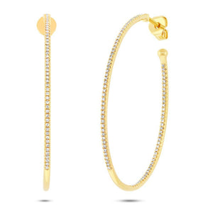 14k Yellow Gold Diamond Oval Hoop Earring - 0.46ct