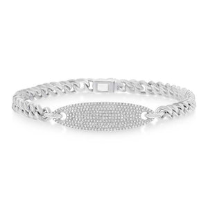 14k White Gold Diamond Pave Chain Bracelet - 0.56ct