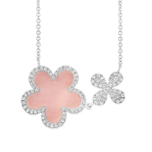Diamond & 0.90ct Pink Opal 14k White Gold Flower Necklace - 0.23ct