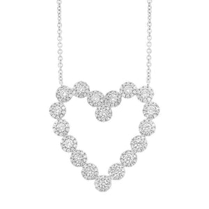14k White Gold Diamond Heart Necklace - 1.15ct
