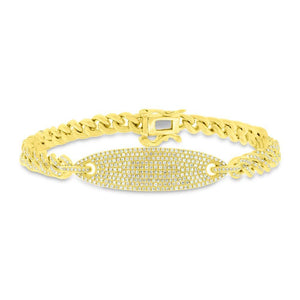 14k Yellow Gold Diamond Pave Chain Bracelet - 1.56ct