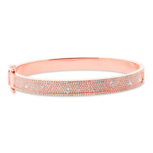 14k Rose Gold Diamond Bangle - 1.47ct