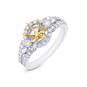 14k Two-tone Gold Diamond Semi-mount Ring - 0.74ct