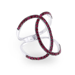 Ruby 14k White Gold Lady's Ring - 1.00ct