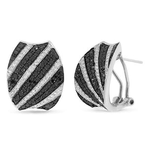 14k White Gold Black & White Diamond Earring - 1.75ct