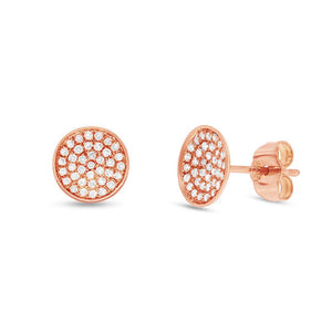 14k Rose Gold Diamond Pave Stud Earring - 0.19ct