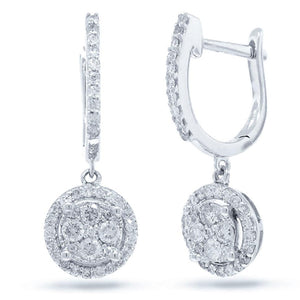 14k White Gold Diamond Cluster Earring - 0.54ct