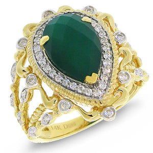Diamond & 2.93ct Green Agate 14k Two-tone Gold Ring - 0.35ct