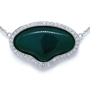 Diamond & 11.75ct Green Agate 14k White Gold Necklace - 0.34ct