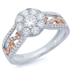 14k Two-tone Rose Gold Diamond Cluster Engagement Ring - 1.07ct