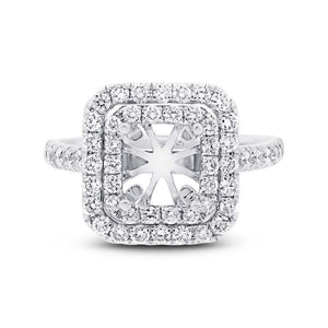 14k White Gold Diamond Semi-mount Ring - 0.87ct