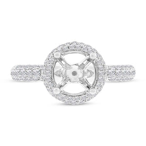 14k White Gold Diamond Semi-mount Ring - 0.74ct