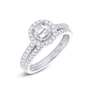 14k White Gold Diamond Semi-mount Ring 2-pc - 0.49ct