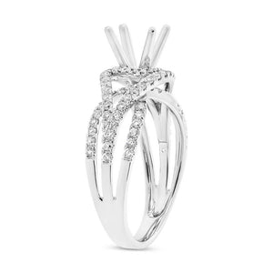 14k White Gold Diamond Semi-mount Ring for 1.00ct Center - 0.68ct